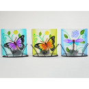 Tealight holder 3-fold assorted butterfly, Meta