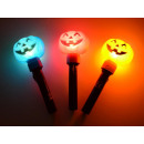 groothandel Woondecoratie: Leuchtstab Halloween, pompoen hoofd, 3 kleuren, 20
