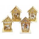 wholesale Candles & Candleholder: Christmas decoration, wooden house with LED ...