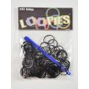 Loopies, Loom Bandz, monochromatyczne, czarne, 100
