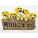 Welcome sign, 5 dog puppies, polyresin, 28x12
