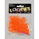 Großhandel Geschenkartikel & Papeterie: Loopies, Loom Bandz, Orange, 100 Ringe, 6 Verschlü