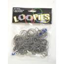 grossiste Cadeaux et papeterie: Loopies, Loom à  Loom Bandz, Gray, 100 anneaux, 6 c