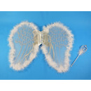 Angel wings, white / silver with magic wand, 46x36