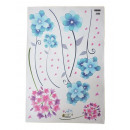 Wall -Tattoo, flowers blue and pink, 60x90cm, with