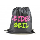 wholesale Gifts & Stationery: Sports bag, 'LEIDER GEIL', 35x40cm