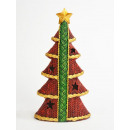 Fir tree, red, with star and green stripes, L