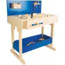 Banco de trabajo infantil azul con accesorios, 72x