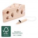 Threading game cheese and mouse, 12x5x5.5cm