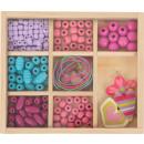 grossiste Bijoux & Montres: Jeu de perles à enfiler compact, 196 pièces, 15x13