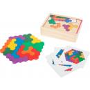 Jeu éducatif puzzle en bois hexagone, 19 pièces, 1