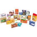 Branded product folding boxes for shops, 17x6.5