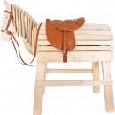 Sella da cavallo in legno e set di briglie