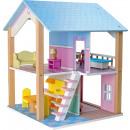 Casa de muñecas techo azul 2 pisos, giratorio, 16