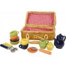 wholesale Toys: Picnic basket nostalgia, 16 parts, 16x8x14cm