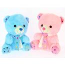 écharpe ours bleu et rose 20 cm