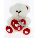 grossiste Poupees et peluches: ours en peluche avec cravate coeur argent20 cm