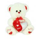 white teddy bear heart split 20 cms