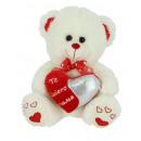 white teddy bear heart party i love you