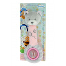 pink bear rattle whistle + ball 25 cms