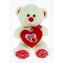 cream bear 3 hearts 28 cms