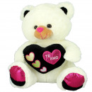 cream black heart bear 28 cms