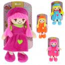 muñeca de mano con vestido y coletas 32 cms