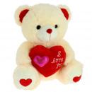 cream bear red heart + fuchsia heart 28 cms