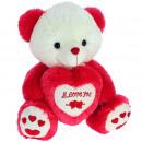 grossiste Poupees et peluches: coeur d'ours rouge 42 cms