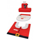 Bathroom Set Santa Claus Decoration Toilet Mat Toi