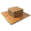 Set of 10 wooden tiles patio tiles 30x30cm balcony