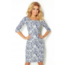 Fitted dress with sleeves 3/4 - flower