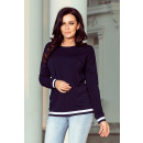 Großhandel Pullover & Sweatshirts: 222-1 Bequemes Sweatshirt mit Manschetten - Marine