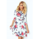 Flared dress with  sleeves 3/4 - flowers