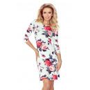 groothandel Kleding & Fashion: 88-16 jurk met  mouw 3/4 - RODE BLOEMEN