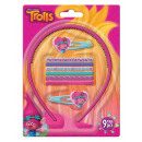 Trolls hair clips, hair rubber, hajráf set (9 piec