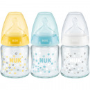 NUK glass bottle, 120ml first Choice Plus silicone