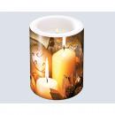 Kerze 'Kerze gold' 8x7,5cm in Zellophan verpackt