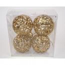 Luxus dekoratív dísze Készlet 4! Gold, a labda 8cm
