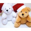 grossiste Jouets: Peluche teddy XL 12x10x8cm avec bonnet de Noel