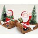 Père Noël / bonhomme de neige en céramique sur lug