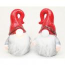 Ceramiczny Mikołaj z noskiem LED 12x8x7cm