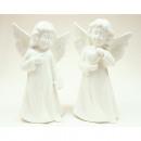Porcelán angyal fehér 12x7cm 2 pózok szortírozott
