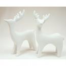 Porcelán jávorszarvas fehér XL 11,5x10cm, fényes