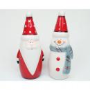 Jultomten utan snögubbe 15,5x6cm glansigt glaserat