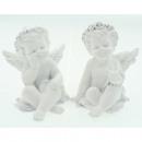 Resin angel white sitting 6x5cm