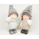 wholesale Headgear: Ceramic girl and boy with snowball 15x8cm