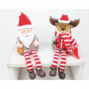 Edge seat ceramic Santa and Elk 20x6x5cm