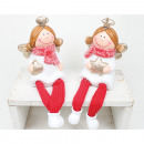 Edge seat ceramic angel 20x6x6cm 2-fold sort