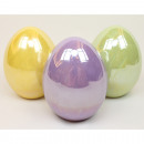 Luxury egg XL 10x6,5cm shiny in 4 colors assorted